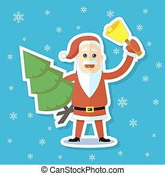 sticker illustration of a flat art cartoon Santa Claus with a bell and Christmas tree