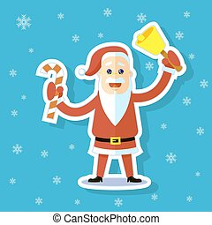 sticker illustration of a flat art cartoon Santa Claus with candy cane