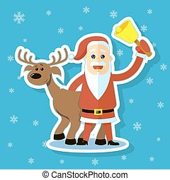 sticker illustration of a flat art cartoon Santa Claus with reindeer