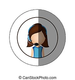color sticker of circular frame with woman call center
