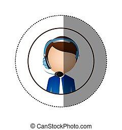 color sticker of circular frame with man call center