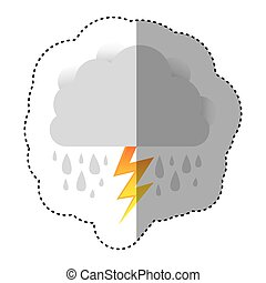 color sticker of cloud with rain and lightning