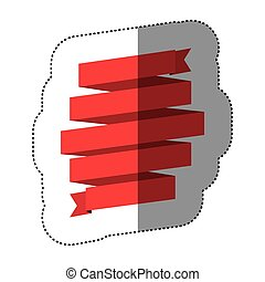 color sticker of red ribbon in a shape spiral