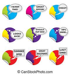 Color sticker set with various messages - Color sticker set...
