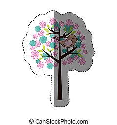 color sticker silhouette with floral tree and bird