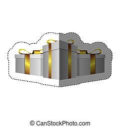 color sticker silhouette with set of gift boxes