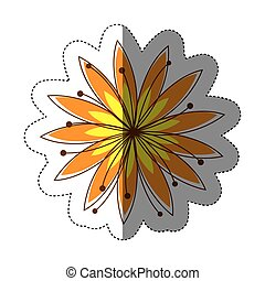 color sticker silhouette with yellow flower
