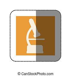 color sticker square with microscope icon