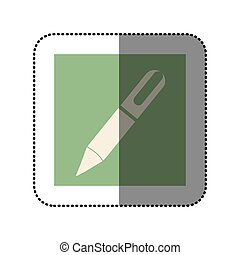 color sticker square with pen icon