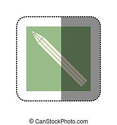 color sticker square with pencil icon