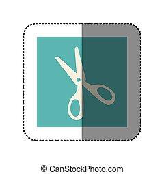color sticker square with scissors icon