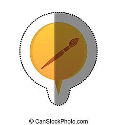 color sticker with brush icon in circular speech
