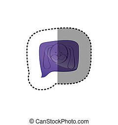 color sticker with dog face in square speech