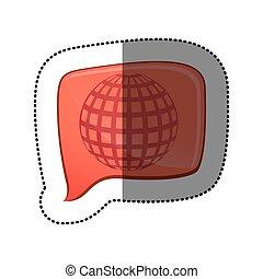 color sticker with globe earth icon in square speech