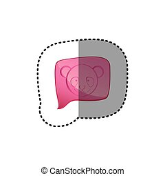 color sticker with panda face in square speech
