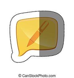color sticker with pen icon in square speech