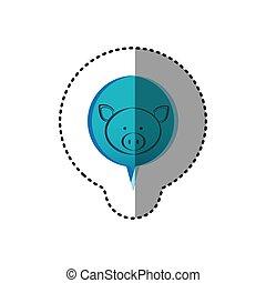 color sticker with pig face in circular speech