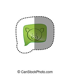 color sticker with pig face in square speech