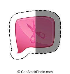 color sticker with scissors icon in square speech