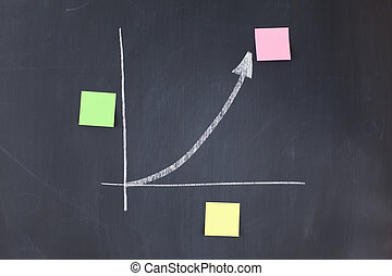 Color sticky notes on a graphic on a blackboard