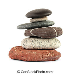 Color stones (zen) isolated on white background. Include...