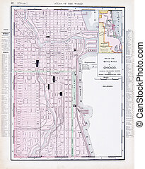 Color Street City Map of Chicago, Illinois, IL USA - Vintage...
