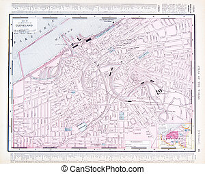 Color Street City Map of Cleveland, Ohio, OH, USA - Vintage...