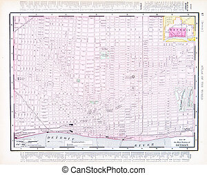 Color Street City Map of Detroit, Michigan, MI USA - Vintage...