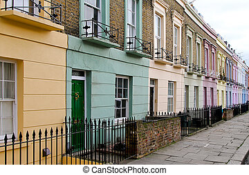 Color street - Colourful houses in row at Camden Town London