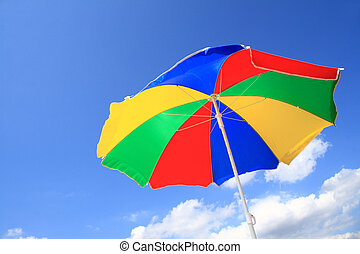 Color striped beach umbrella