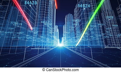 Color Strokes Flying Through the Digital Night City with Numbers and Grids. 3d Blueprint. Business and Technology Concept. 3d animation.
