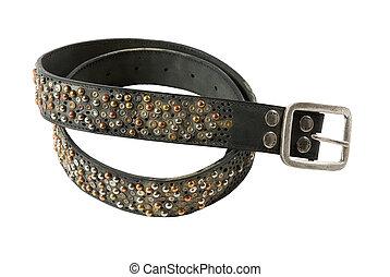 Color studs leather belt