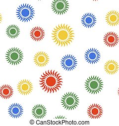 Color Sun icon isolated seamless pattern on white background.  Vector