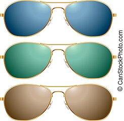 Color sunglasses vector set isolated on white background.