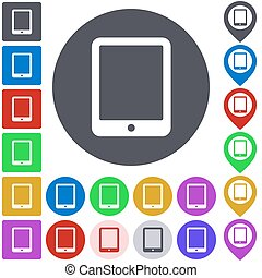 Color tablet icon set