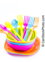 Color plastic tableware dishes , spoon , fork