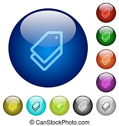 Color tags glass buttons