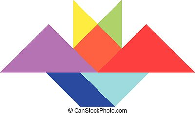 Color tangram puzzle in bat shape on white background (Vector)