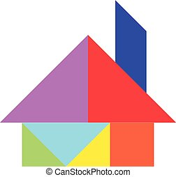 Color tangram puzzle in home shape on white background...