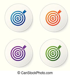 Color Target with arrow icon isolated on white background. Dart board sign. Archery board icon. Dartboard sign. Business goal concept. Set color icon in circle buttons. Vector Illustration