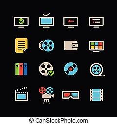 color, tela, cine, colección, iconos