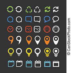 color, tela, colección, iconos