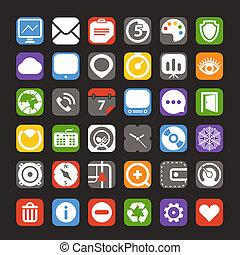 color, tela, interfaz, colección, iconos