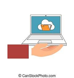 color, tenencia de la mano, computadora de computadora portátil, con, carpeta, en, pantalla