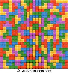Tetris Bricks Seamless Background. Vector