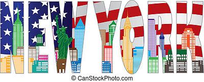 color, texto, contorno, contorno, york, v, nuevo