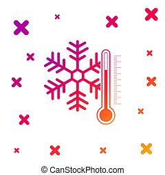 Color Thermometer with snowflake icon isolated on white background. Gradient random dynamic shapes. Vector Illustration