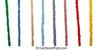 color threads isolated on white background