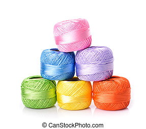 color threads pyramid - Different color threads isolated on...