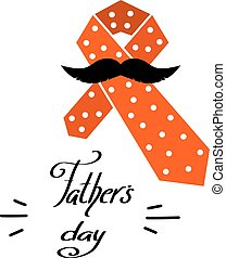 Color tie with a mustache. Element for congratulations Father's Day. Cartoon design. Vector illustration